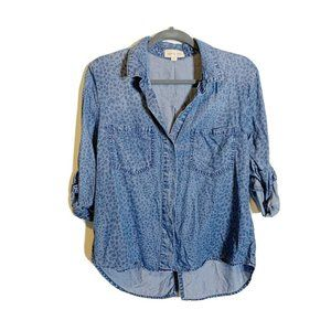 cloth + stone Split Back Patterned Chambray Top